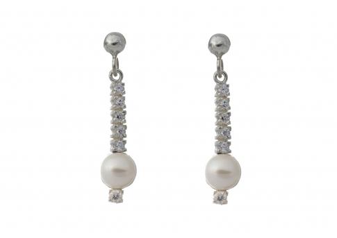 Елегантни перлени обеци в сребро и цирконии