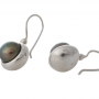 Стилни, сребърни обеци с едри, естествени, черни перли 1
