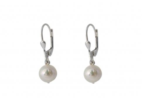Класически висящи сребърни обеци с естествена перла