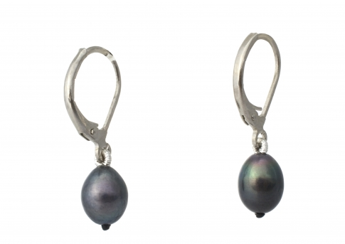 Сребърни обеци с нежни, овални, черни перли
