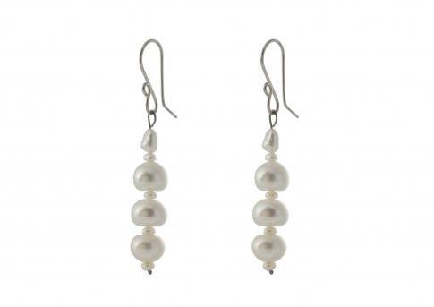 Висящи обеци с естествени перли и сребро