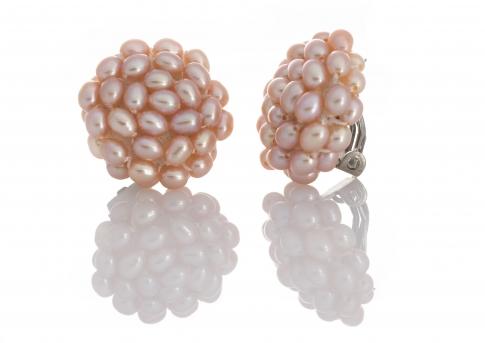 Плетени обеци с клипс от естествени, лилави перли