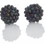 Плетени обеци с клипс от естествени, черни перли 1