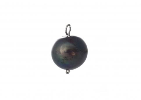 Висулка от сребро и едра естествена черна перла