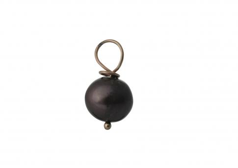 Висулка от злато и висококачествена естествена черна перла