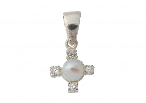 Красива висулка от сребро, естествена бяла перла и циркони