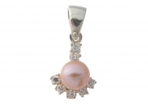 Висулка с нежна естствена розова перла, сребро и циркони