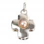 Сребърен кръст с нежна оранжева естествена перла 1