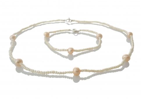 Комплект гривна и колие от естествени бели и розови перли