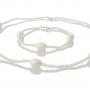 Комплект гривна и колие от естествени бели перли 1