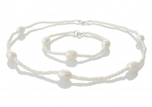 Комплект гривна и колие от естествени бели перли