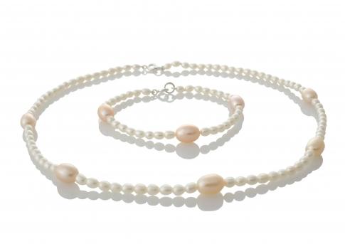 Комплект гривна и колие от естествени перли в бял и розов цвят