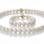 Класически гривна и колие от естествени бели перли 1