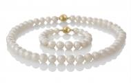 Класически гривна и колие от естествени бели перли