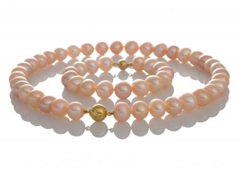 Комплект гривна и колие от естествени едри оранжеви перли