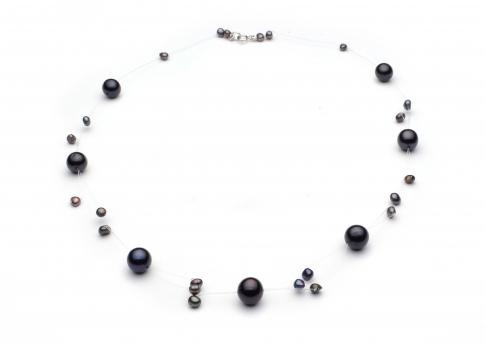 Екстравагантно колие на корда от ефектни черни естествени перли