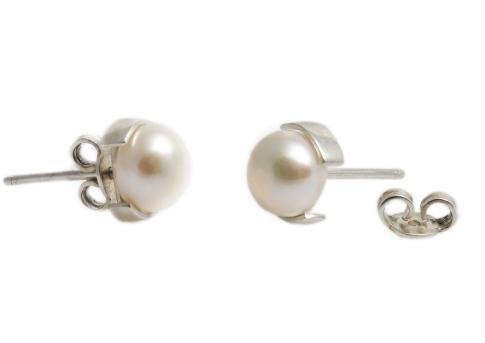 Елегантни класически сребърни обеци с есетествена перла в оранжев цвят