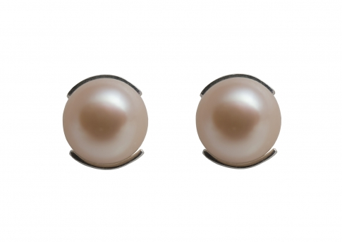Изящни сребърни обеци с перли в естествен лилав цвят