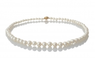 Елегантно класическо колие от натурални кръгли бели перли