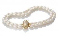 Класическо колие от два реда ексклузивни естествени бели перли