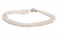 Класическо двуредно колие от естествени кръгли бели перли