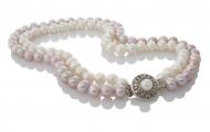 Двуредно колие от блестящи естествени бели и лилави перли