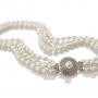 Tриредно колие от бели овални естествени перли със сребърна закопчалка 1
