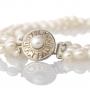 Tриредно колие от бели овални естествени перли със сребърна закопчалка 2