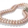 Класическо двуредно колие от естествени кръли розови перли 1