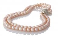 Класическо двуредно колие от естествени кръли розови перли