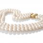 Изящна огърлица от три реда кръгли бели естествени перли 1