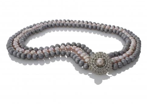 Уникално съчетание от редки естествени перли в графитен и лилав цвят
