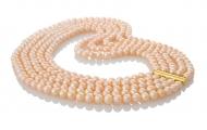 Пет наниза невероятни розови естествени перли