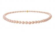 Класическо едноредно колие от естествени кръгли перли в оранжев цвят