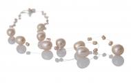 Красиво, едноредно колие от лилави, естествени перли
