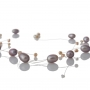 Красиво съчетание от едри и дребни, лилави, естествени перли 1